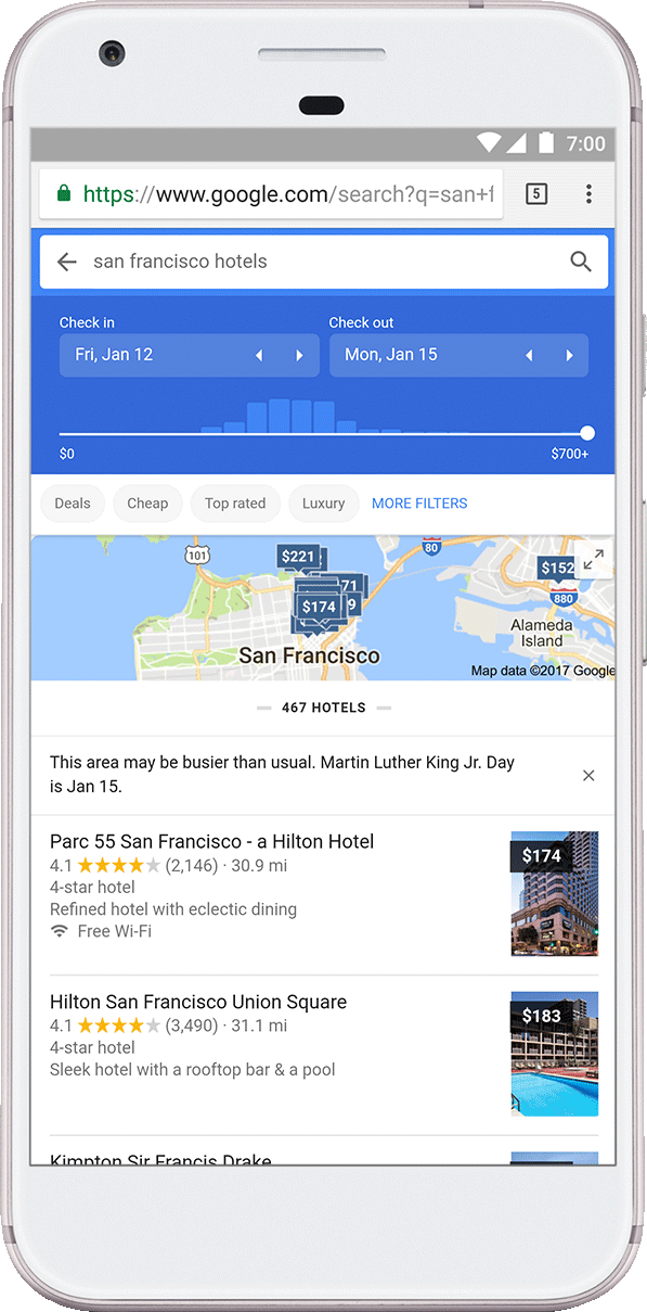 Google hotels price
