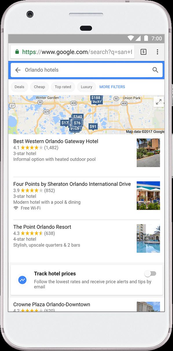 Google travel track prices