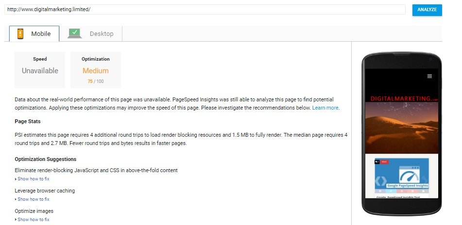unavailable message from PageSpeed Insights tool